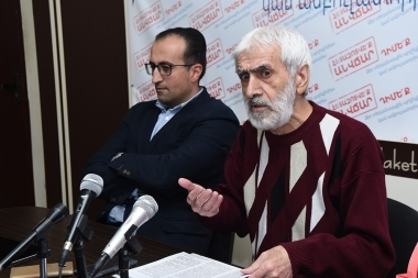 Doctor Arsen Torosyan and publicist Hrayr Ulubabyan gave a press conference on the topic of the 'The danger of vaccine against Papilloma virus' took place in Yelaket press club - Photolure News Agency