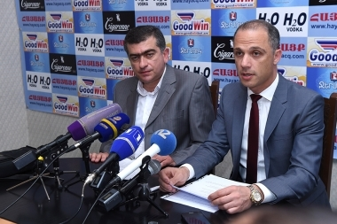 Members of the City Council from 'Yerkir Tsirani' party Mnatsakan Parakshiyev and Hayk Petrosyan are guests in Hayatsk press club - Photolure News Agency