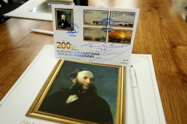 Cancellation of the postage stamps entitled 'World Famous Armenians: The 200th anniversary of Hovhannes Ayvazovsky' within the framework of the philatelic exhibition dedicated to the 200th anniversary of Hovhannes Ayvazovsky took place at the Yerevan History Museum - Photolure News Agency