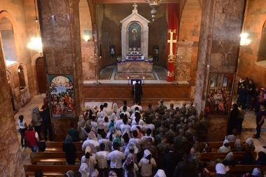 "Under the leadership of the coordinator of the youth organizations Father Petros Malyan, was held the annual ""Victory Prayer"", with the participation of military personnel, military cadets and youth. - Photolure News Agency"