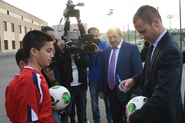 UEFA President Aleksander Ceferin and FFA President Ruben Hayrapetyan paid a visit to the FFA Technical center/Football Academy - Photolure News Agency