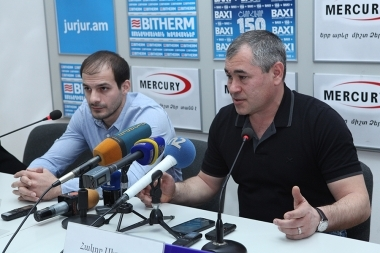 Armenian gymnastics team head coach Hakob Serobyan and European Championship bronze medalist Harutyun Merdinyan are guests in Armenpress press club - Photolure News Agency