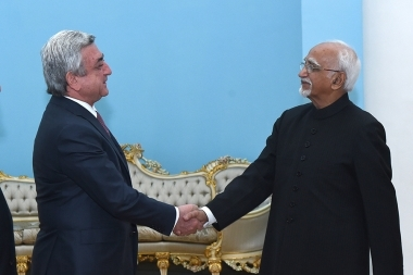 RA President Serzh Sargsyan received Vice President of India Hamid Ansari at the RA Presidential Palace - Photolure News Agency