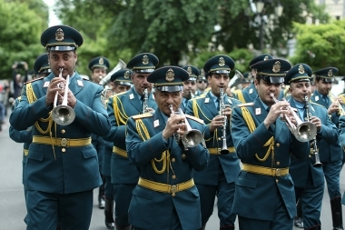 Concert of the brass orchestra of the RA Ministry of Emergency Situations took place on Charles Aznavour Square - Photolure News Agency